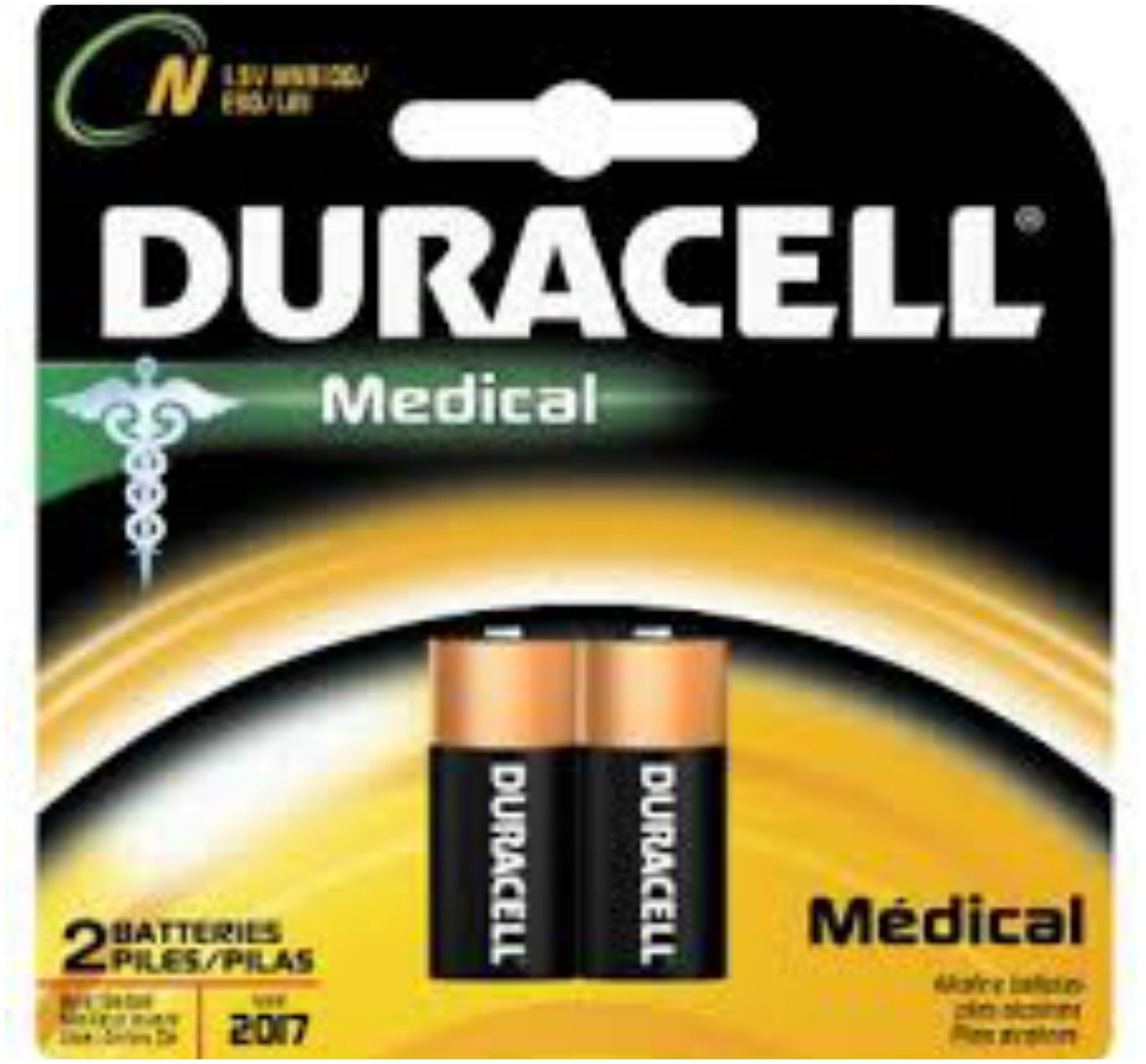 Duracell Medical E90 N Size 1.5V LR1 - 2 Pack + FREE SHIPPING!