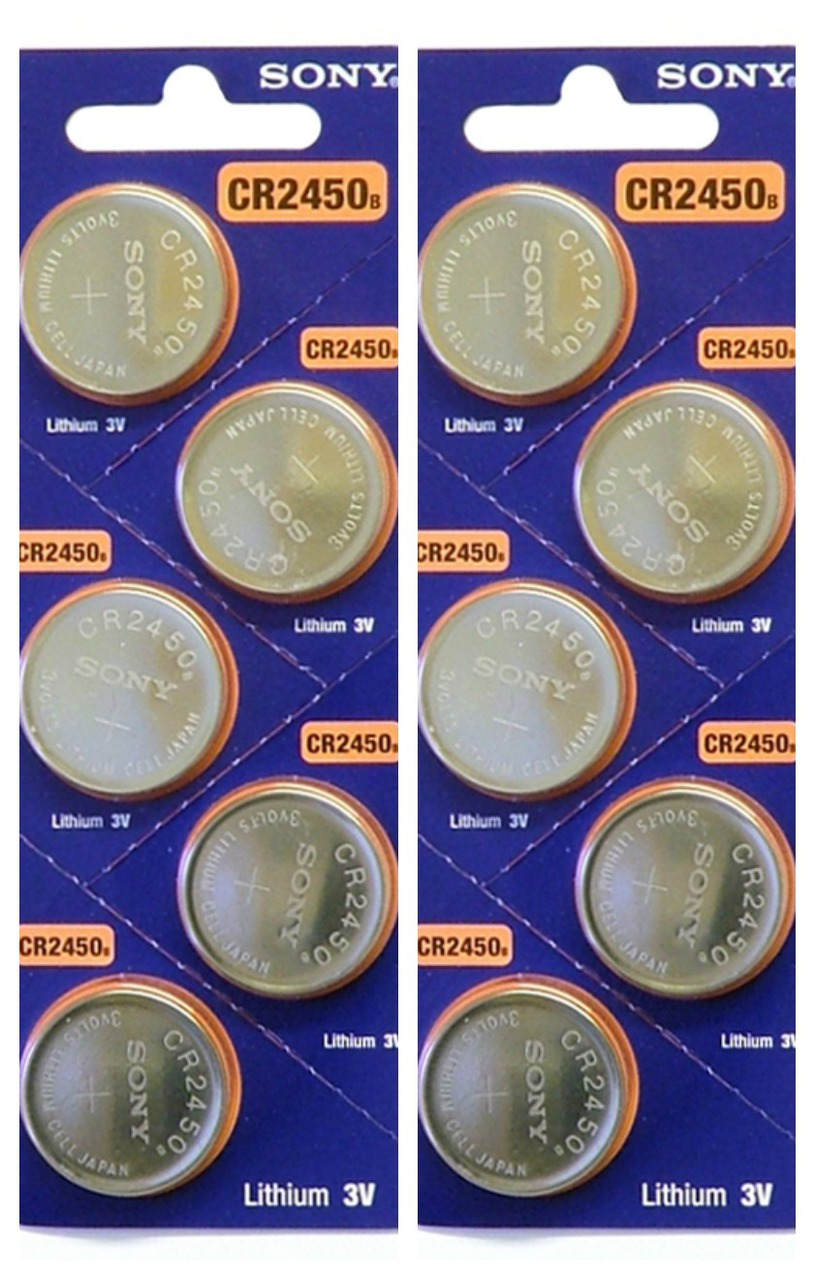 Sony CR2450 3V Lithium Coin Battery - 10 Pack - FREE SHIPPING
