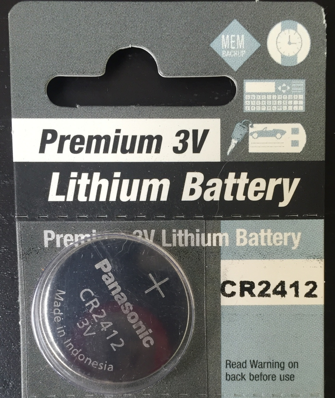 Panasonic CR2412 3V Lithium Coin Battery - 1 Pack + Free Shipping