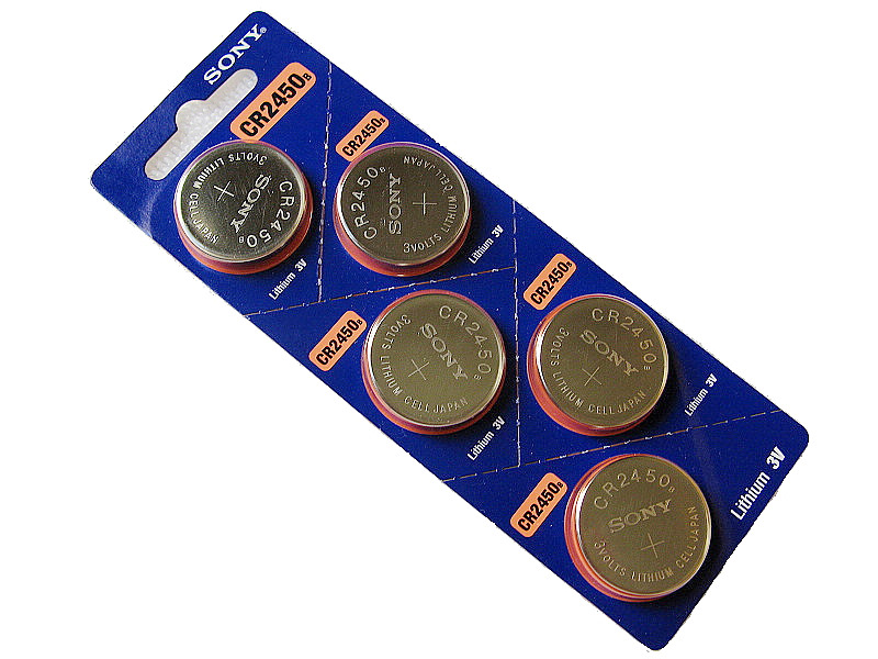 Sony CR2450 3V Lithium Coin Battery - 5 Pack - FREE SHIPPING