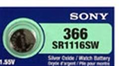 Sony 365/366 - SR1116 Silver Oxide Button Battery 1.55V 25 Pack + FREE SHIPPING!