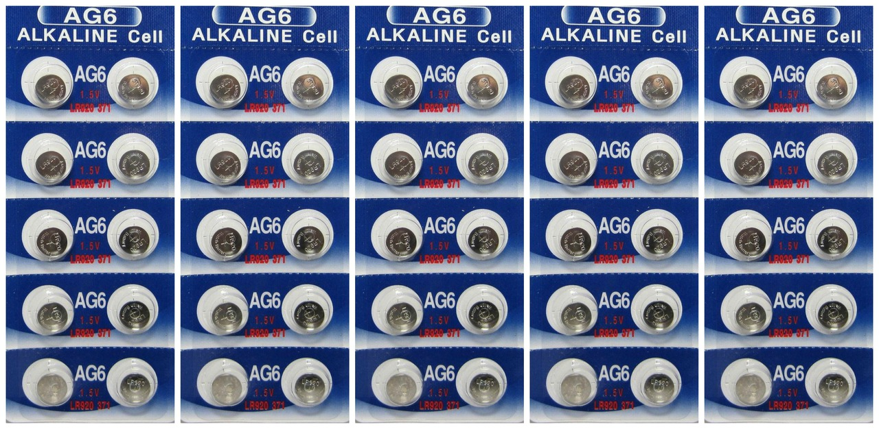 AG6 / LR921 Alkaline Button Watch Battery 1.5V - 50 Pack - FREE SHIPPING