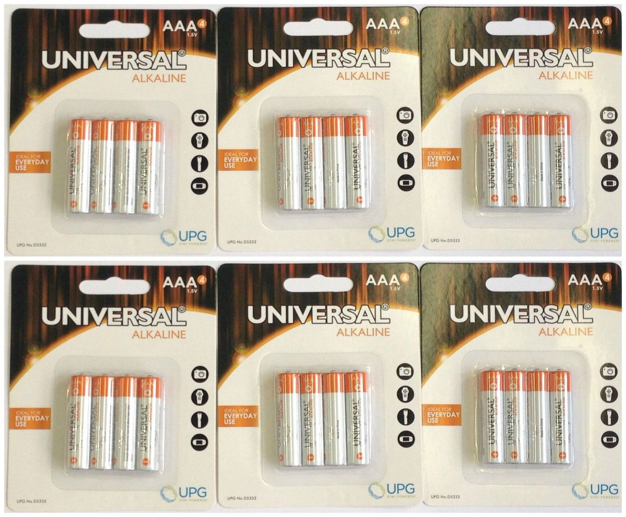 PACK OF 100 UNIVERSAL AAA - ALKALINE BATTERIES IN RETAIL PACKAGING + FREE SHIPPING