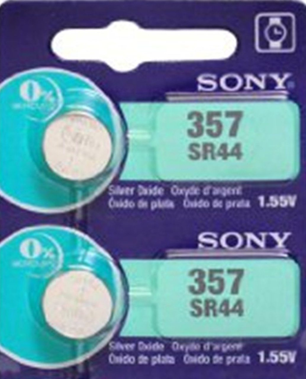 Sony 357/303 - SR44 Silver Oxide Button Battery 1.55V - 2 Pack + FREE SHIPPING!