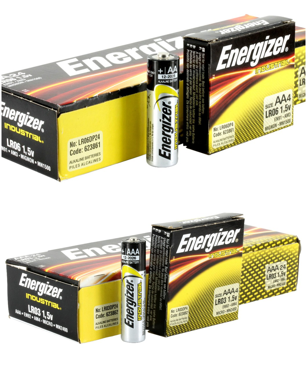 48 Piece Combo Pack - Energizer Industrial Alkaline 24 AAA + 24 AA - FREE SHIPPING!