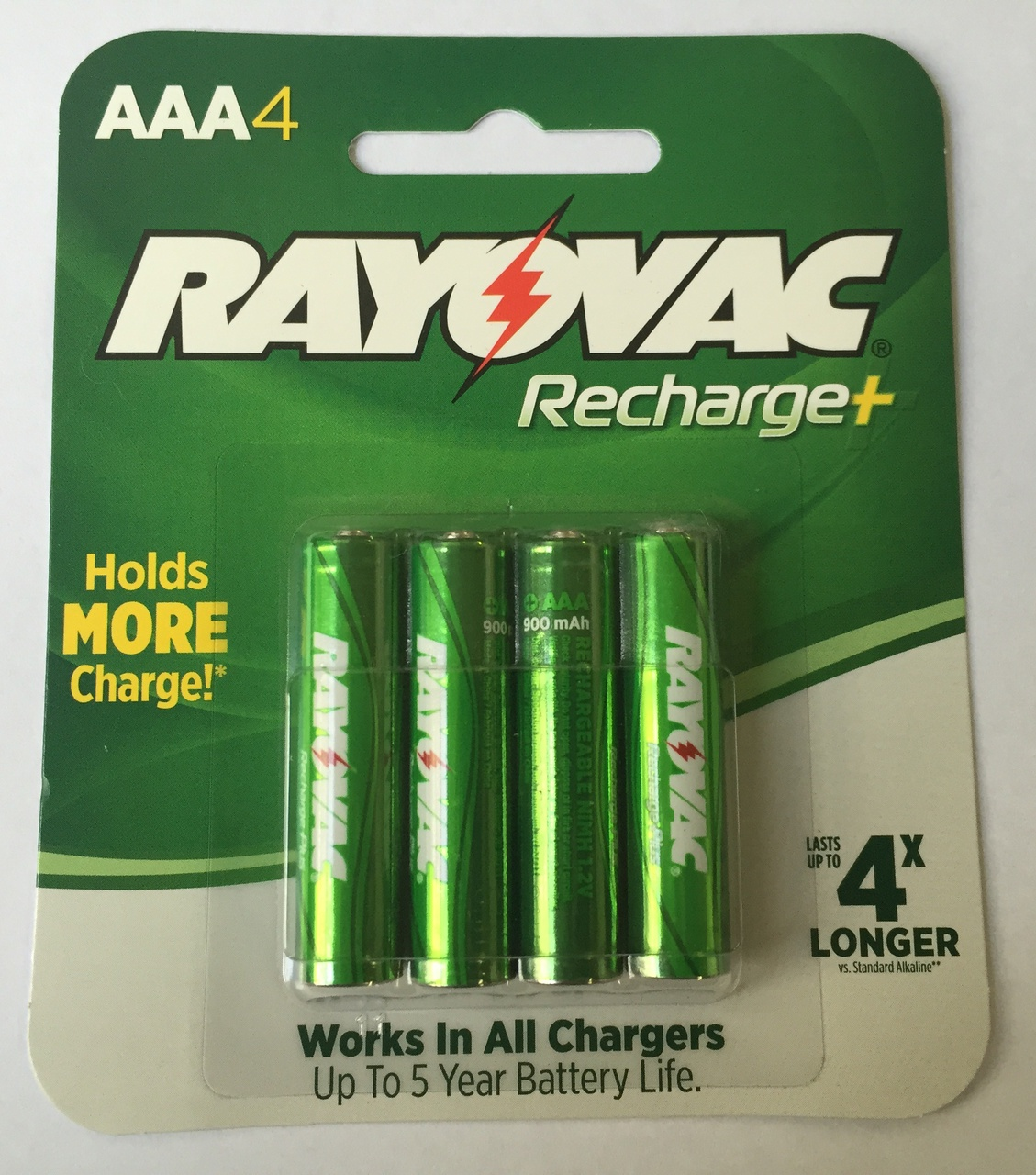 Rayovac Recharge Plus 900 MAh NiMH AAA 4-pack + FREE SHIPPING!