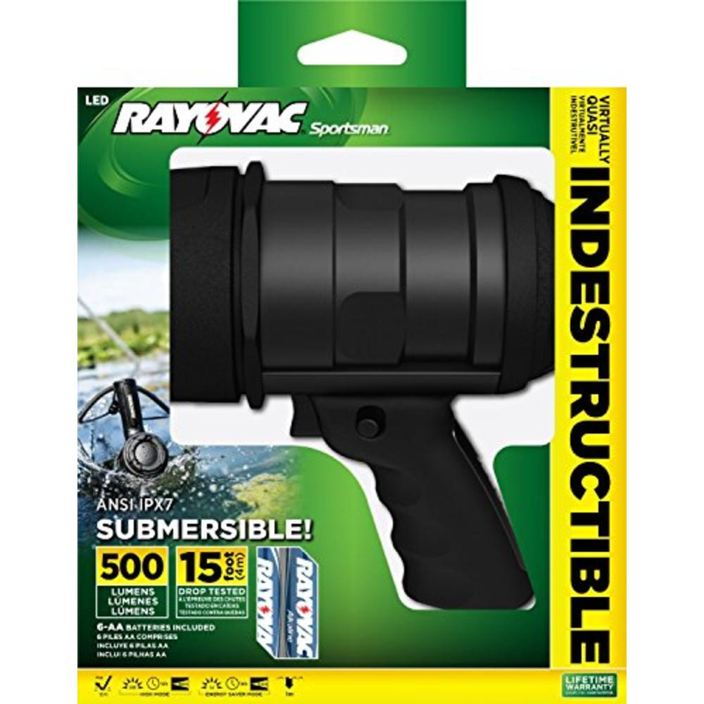 Rayovac OT6AASP-B  Virtually Indestructible Submersible 500 Lumen 6AA LED Spotlight With 6 Batteries + FREE SHIPPING!