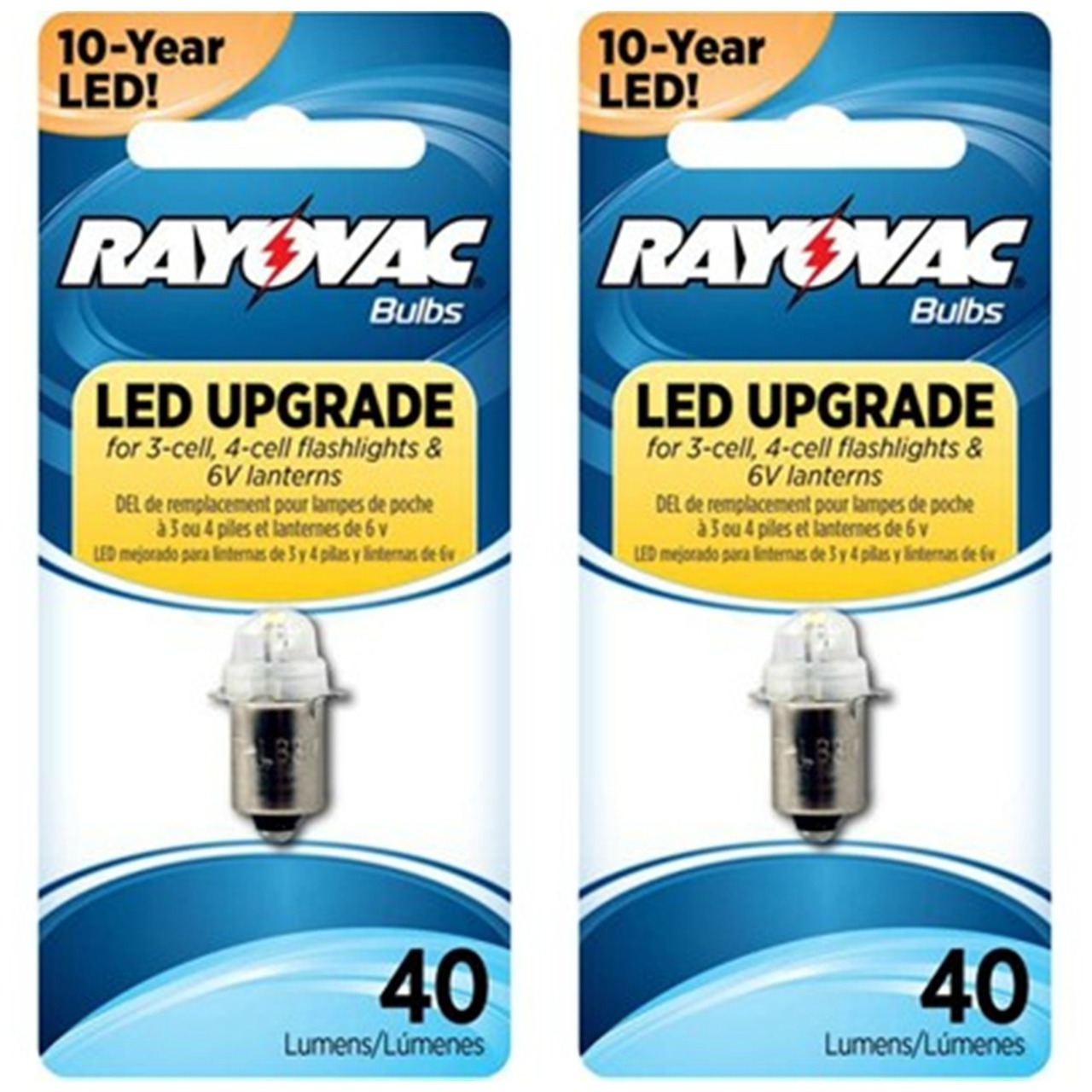 Rayovac LED Upgrade Bulb For 3-Cell  4-Cell Flashlights And Lanterns 4V6VLED -2 Pack + FREE SHIPPING!