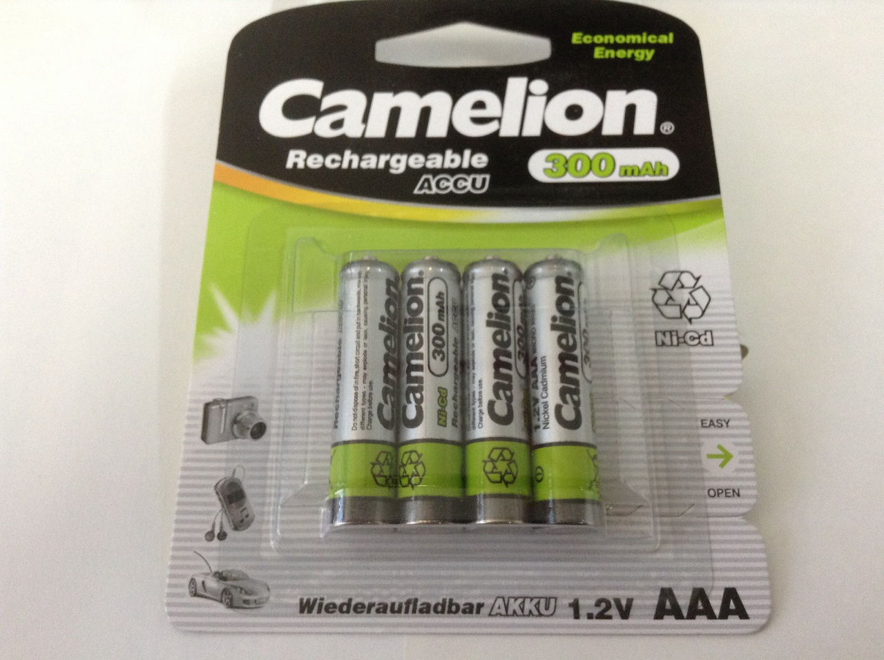 Camelion Economical Energy AAA Rechargeable NiCD Batteries 300mAh 4 Pack Retail + FREE SHIPPING!