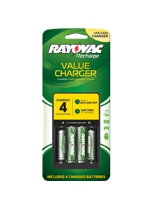 Rayovac Recharge Value Charger For AA And AAA Batteries Includes 4 Batteries + Free Shipping