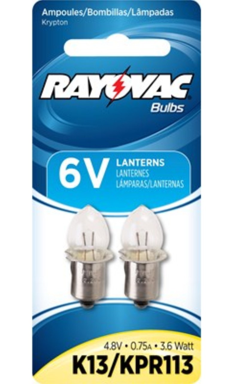 2 Bulbs - Rayovac Krypton Bulbs For 6V Lanterns and 4AA  4C  2D Flashlights K13 + FREE SHIPPING!