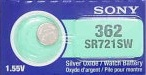 Sony 362/361 - SR721 Silver Oxide Button Battery 1.55V - 25 Pack + FREE SHIPPING!