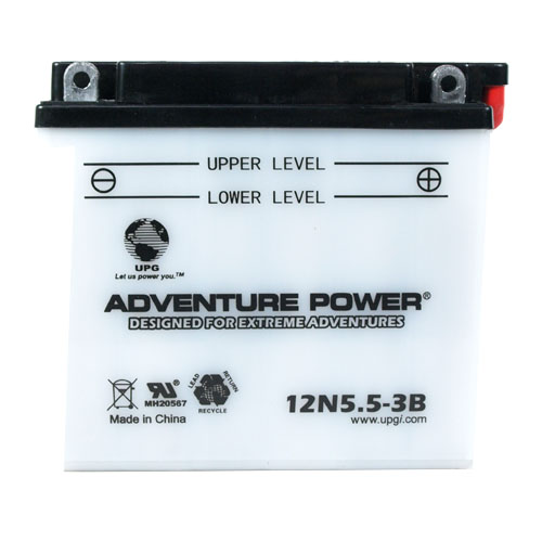 12N5.5-3B 12 Volt 5.5 Amp Hrs Conventional Power Sport Battery