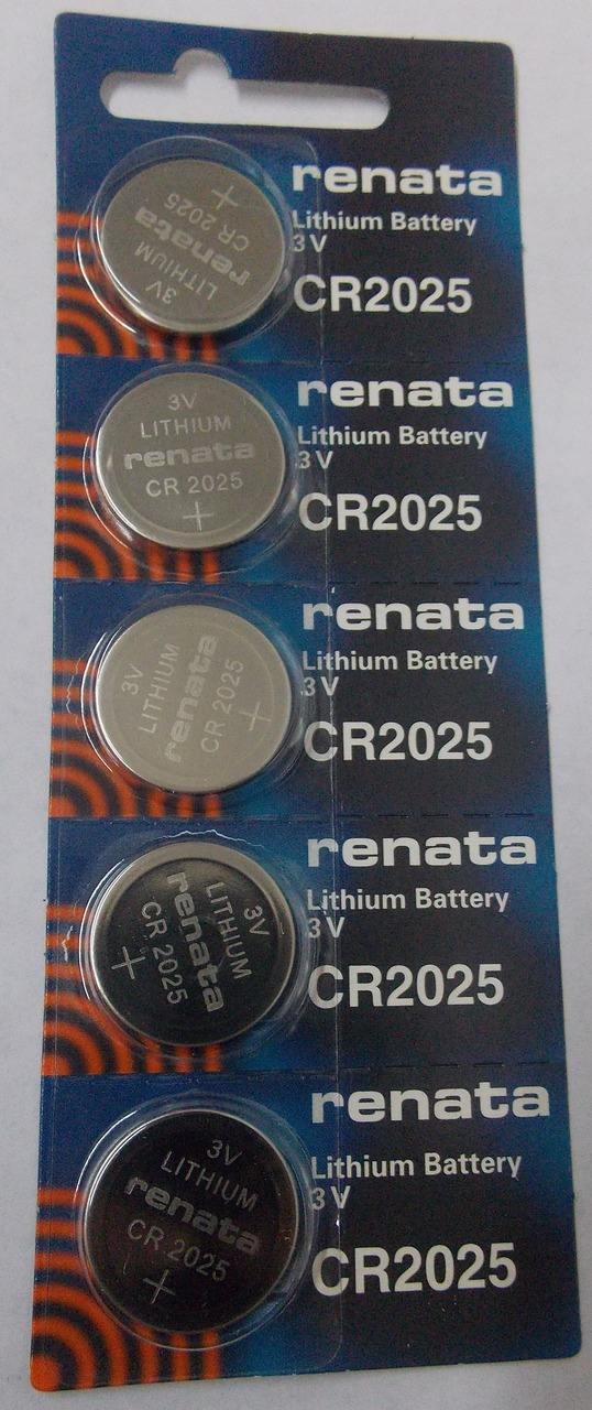 Renata CR2025 3V Lithium Coin Battery - 5 Pack + FREE SHIPPING
