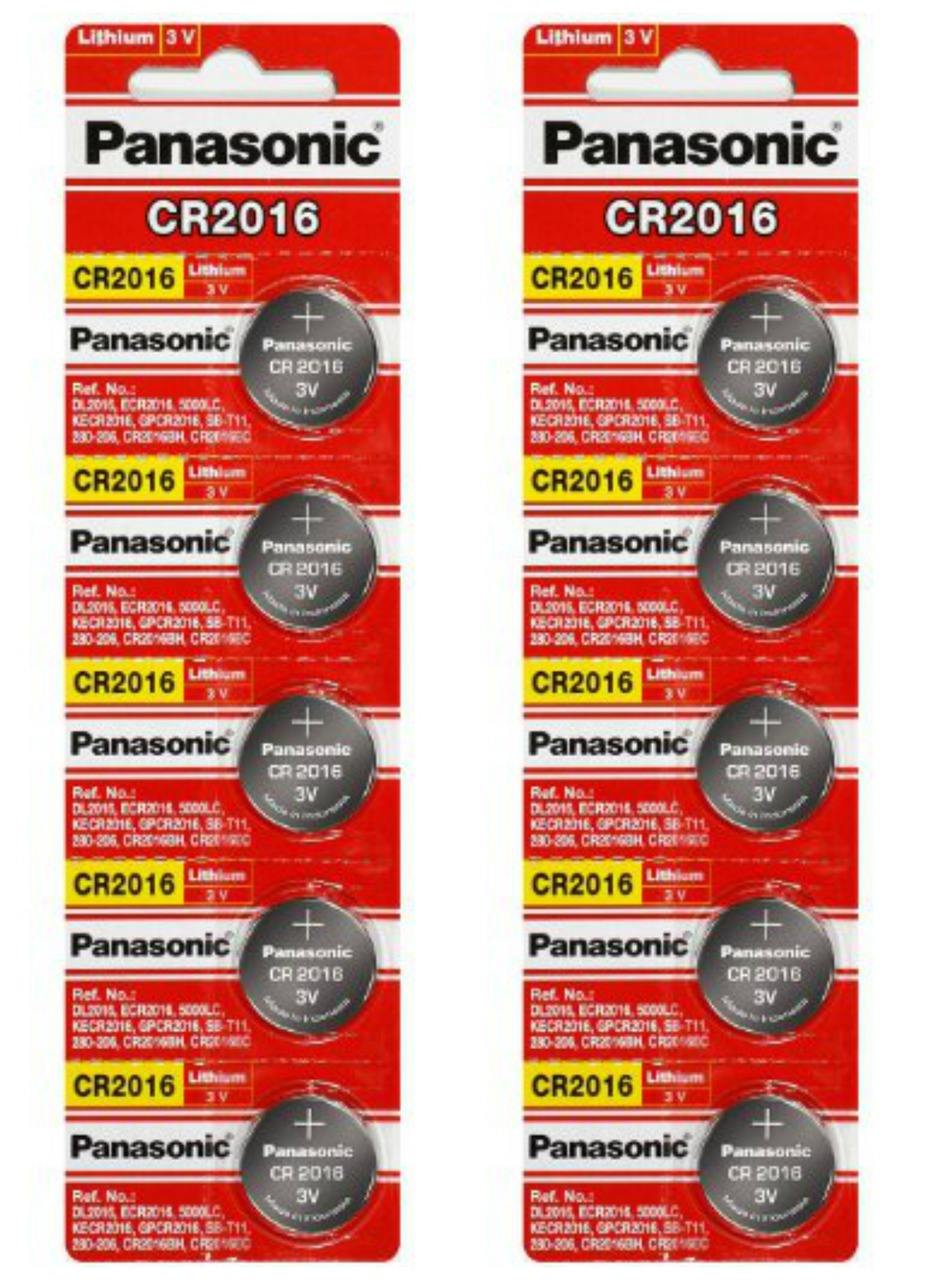 Panasonic CR2016 3V Lithium Coin Battery - 10 Pack + FREE SHIPPING!