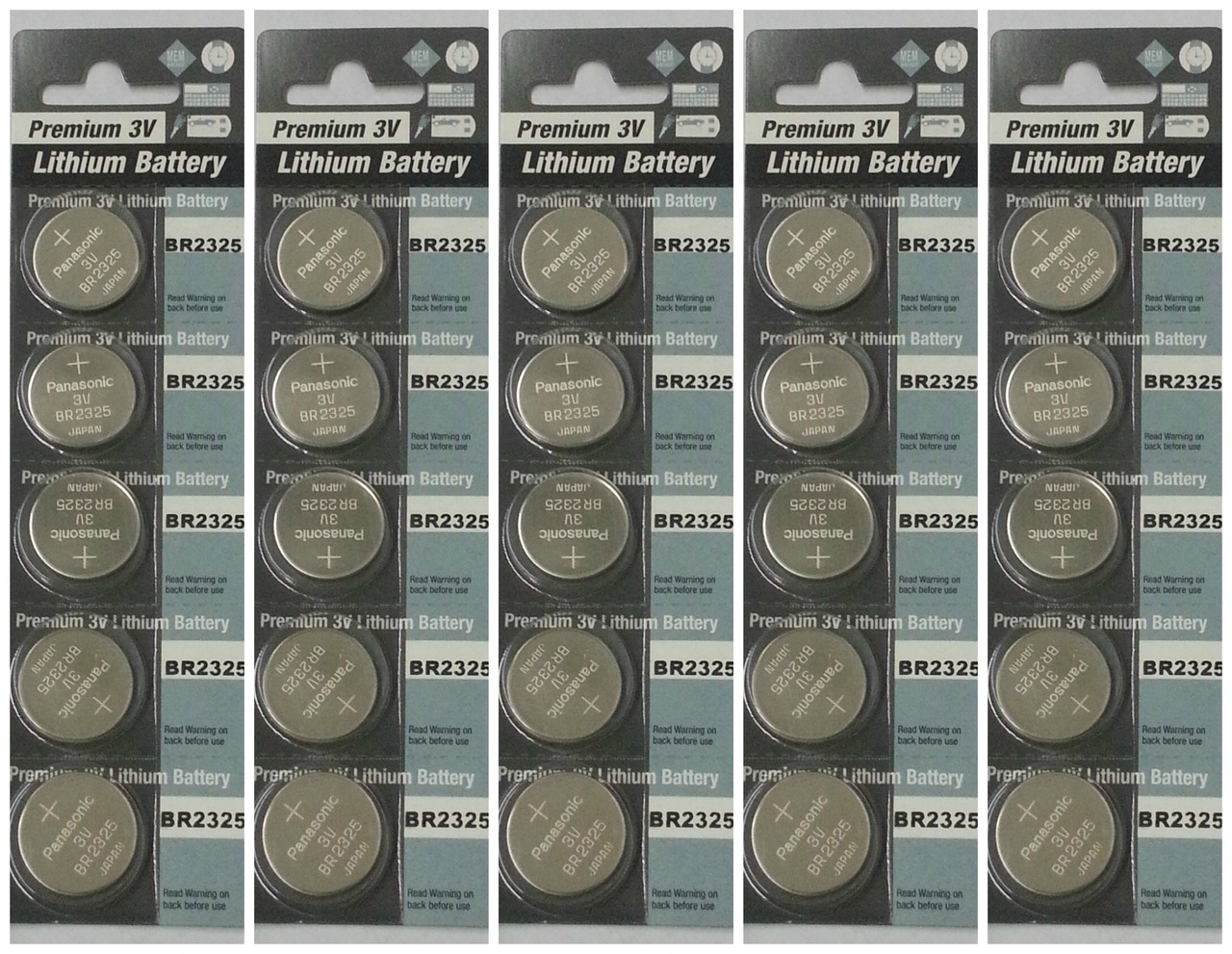 Panasonic BR2325 3V Lithium Coin Battery - 25 Pack + FREE SHIPPING!