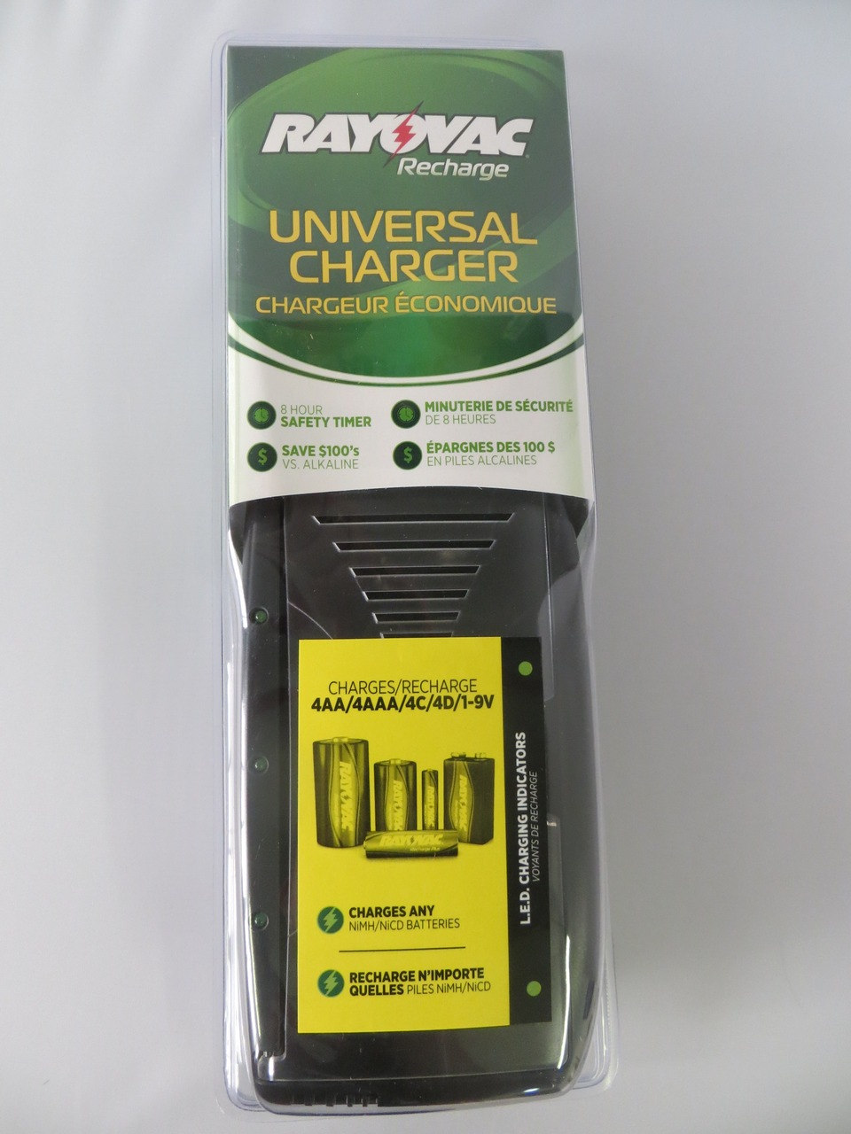 Rayovac PS202 Battery Charger For AA  AAA  C  D And  9V NIMH And NICD Batteries + FREE SHIPPING