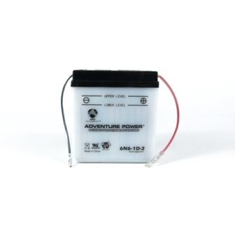 6N6-1D-2 6 Volt 6 Amp Hrs Conventional Power Sport Battery