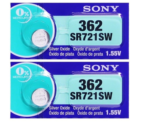 Sony 362/361 - SR721 Silver Oxide Button Battery 1.55V - 2 Pack + FREE SHIPPING!