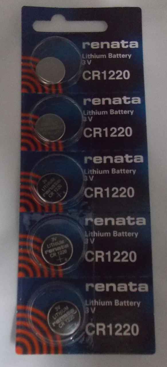 Renata CR1220 3V Lithium Coin Battery - 5 Pack + FREE SHIPPING!