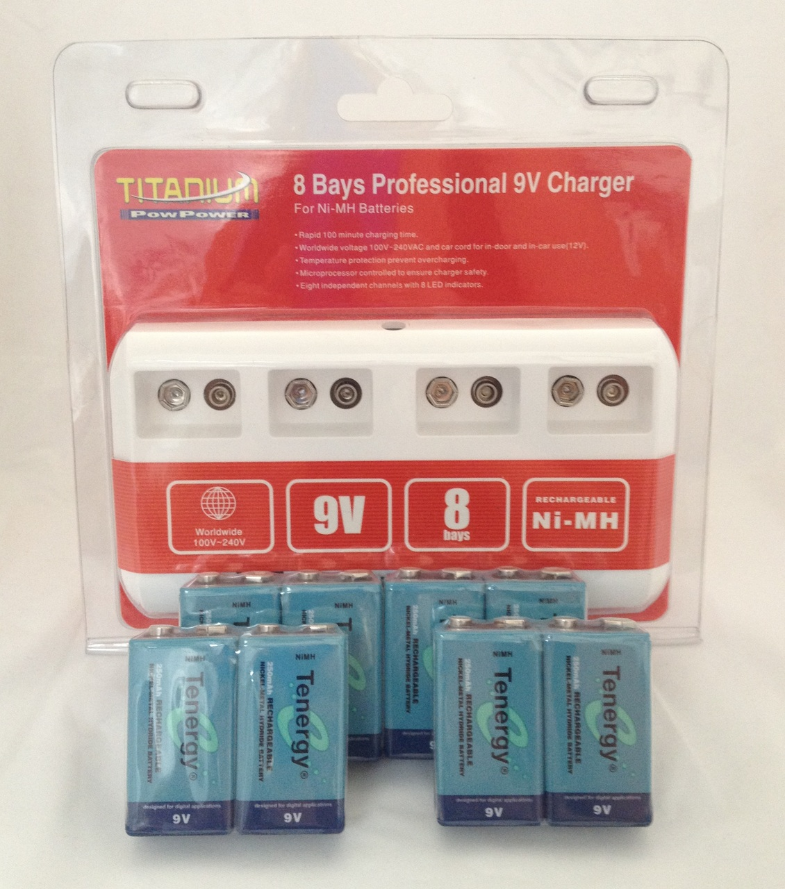 Titanium 8 Bay Professional 9V Charger For NiMH Batteries With 8 Tenergy 9V 250mah NiMB Batteries + FREE SHIPPING!