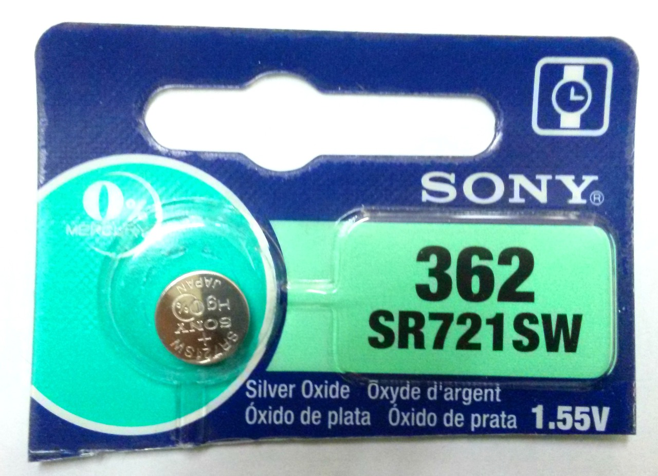 Sony 362/361 - SR721 Silver Oxide Button Battery 1.55V -1 Pack + FREE SHIPPING!