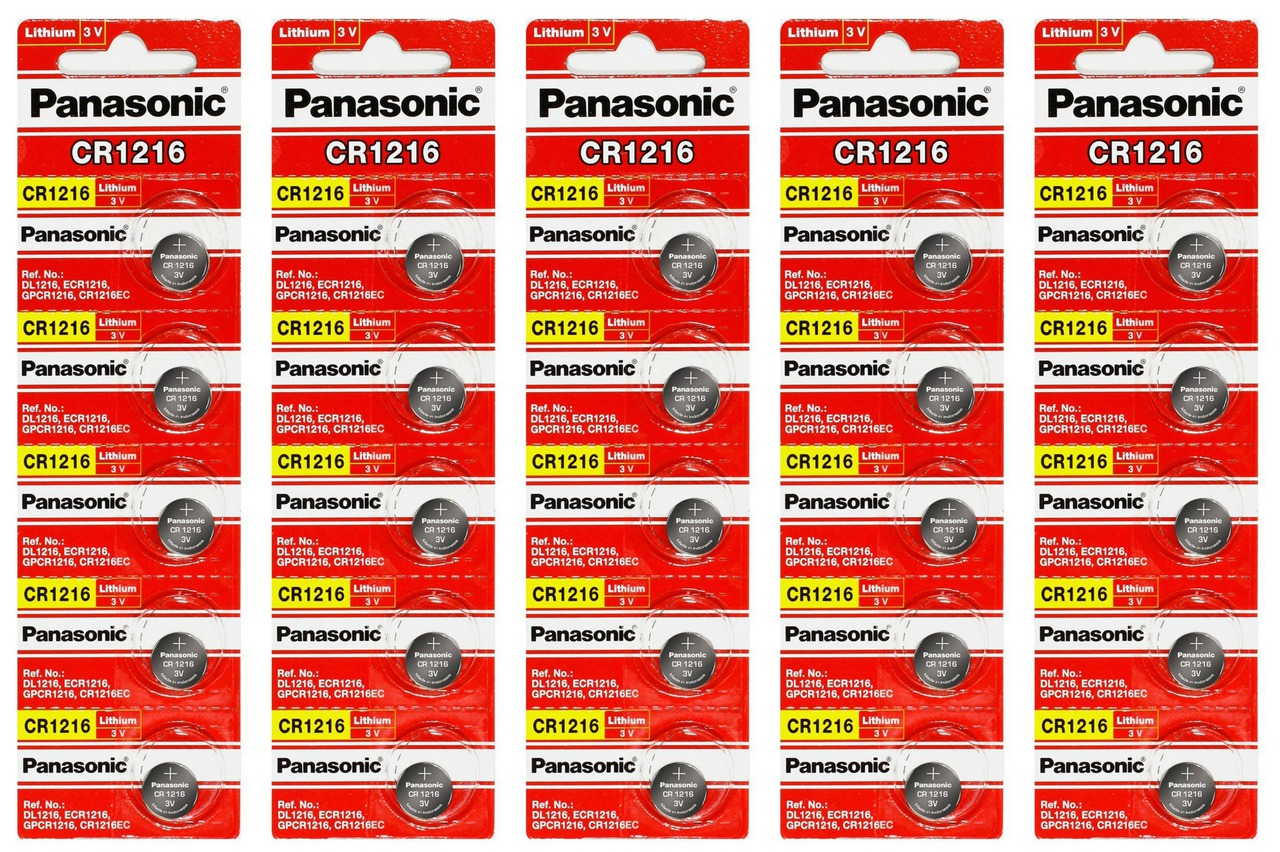 Panasonic CR1216 3V Lithium Coin Battery - 50 Pack + FREE SHIPPING!